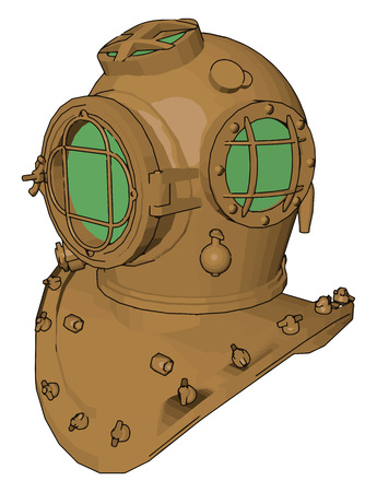A safety device which covers face and head during ocean or deep diving oxygen mask for marine or deep sea diver vector color drawing or illustration Illustration