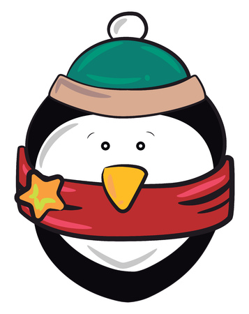Penguin dressed in festive theme with red scarf & green cap vector color drawing or illustration