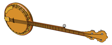A tanpura is a long-necked plucked string instrument originating from India found in various forms in Indian music vector color drawing or illustration