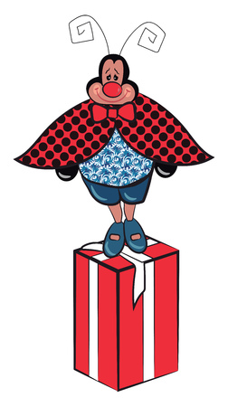 A cissy with two antenna with polka dot crape is standing on a gift box vector color drawing or illustration