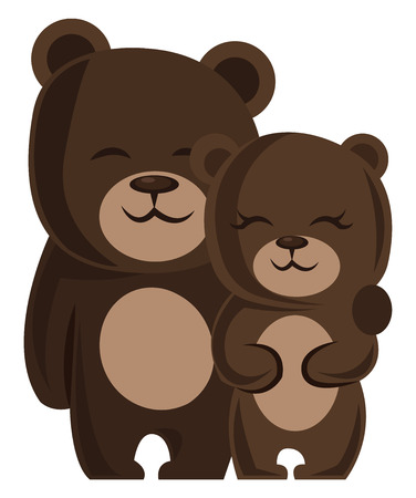 A male and a female bear hugging each other vector illustration on white background.