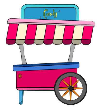 A colorful cart of bright red blue pink color with black & yellow wheel it has a signboard mentioning candy vector color drawing or illustration