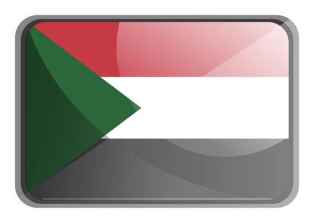 Vector illustration of Sudan flag on white background.