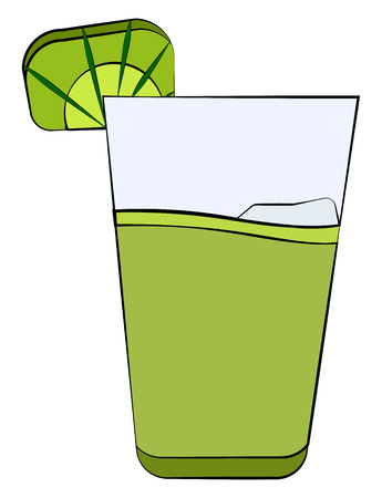 A glass of green mojito with a hint or decoration of lime poured over the bed of ice vector color drawing or illustration Illustration