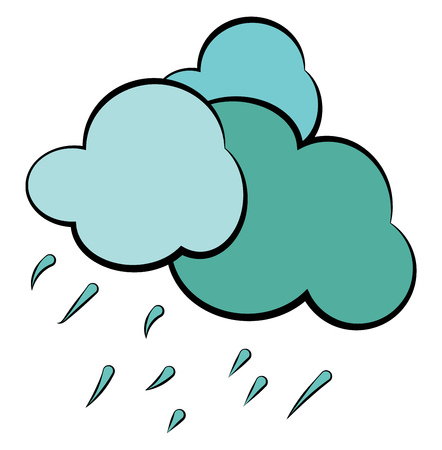 Heavy downpour from a cloudy sky depicting the rainy weather vector color drawing or illustration