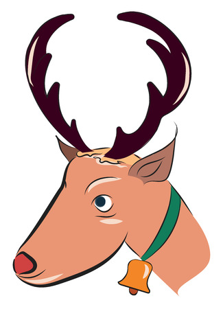 A Christmas reindeer with a golden bell and green ribbon in the neck vector color drawing or illustration Zdjęcie Seryjne - 123449354