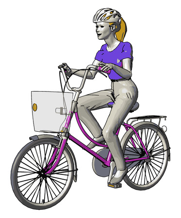 A girl is enjoying riding bicycle which has two wheels She wears helmet for safety bicycle has one basket in front side to keep some essentials It is a very good exercise or physical activity vector color drawing or illustration Çizim