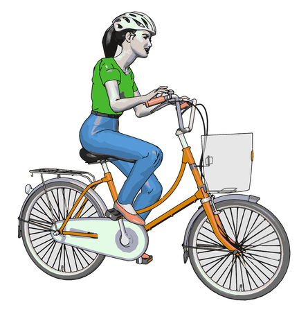 Female cyclist wondering on road in slow motion with bicycle cycle is having nice brake and pedal to control speed while travel vector color drawing or illustration