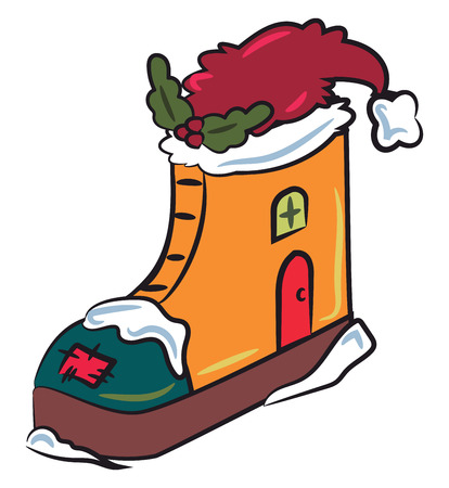 A decorative piece of high ankle show house with Santa hat & green wreath vector color drawing or illustration Stock Illustratie