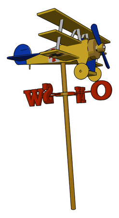 A toy airplane mounted on wind vane which will fly with the direction of wind can be used in child play vector color drawing or illustration