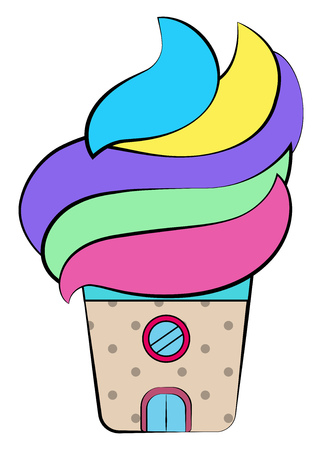 A colorful house or shop in the shape of ice cream with a door and round window depicts it as a ice-cream shop vector color drawing or illustration