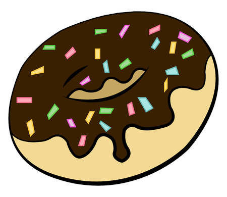 A tasty treat of chocolate glazed donuts with colorful sprinkles all over vector color drawing or illustration  イラスト・ベクター素材