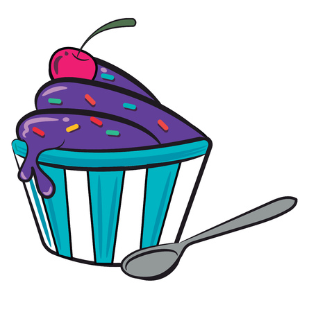 A cup of frozen purple ice-cream with cherry & sprinkle vector color drawing or illustration