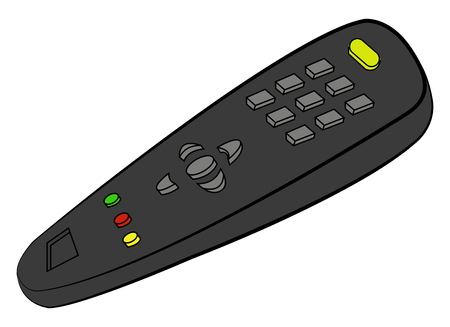 A black TV remote control with buttons used in everyday life vector color drawing or illustration  向量圖像
