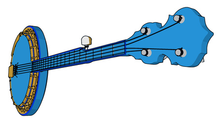 Tanpura is an instrument that acts as the reference chord in Indian classical music It has a resonator and four strings vector color drawing or illustration Ilustracja