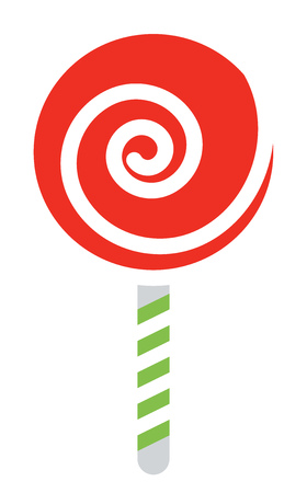 A red spiral lollypop candy with green & white striped stick to hold vector color drawing or illustration 일러스트