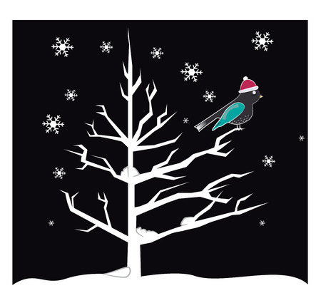 A bird with Santa hat is sitting on branch of a tree during a snowy night vector color drawing or illustration Illustration