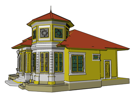 Basic components of a house are plinth beam floor walls opening stairs roof surfaces etc Altogether make the home vector color drawing or illustration