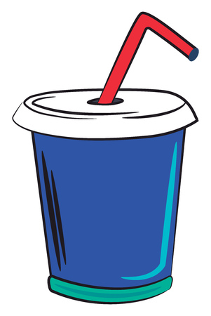A blue glass with lid and pink straw vector color drawing or illustration Illustration