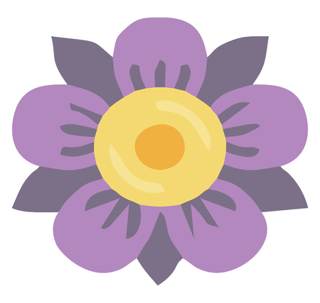 A flower with violet & mauve petals & yellow brown center vector color drawing or illustration  イラスト・ベクター素材