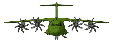 An Aircraft known as Hercules a four-engine turboprop military transport aircraft It has the longest continuous production run of any military aircraft in history vector color drawing or illustration