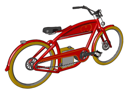 A bicycle or bike is a small human powered land vehicle with a seat two wheels two pedals and a metal chain vector color drawing or illustration Illustration