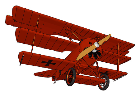A triplane is a vintage historical It is a fixed-wing aircraft equipped with three vertical stacked wing planes Mainly used for military purpose during world war 1 vector color drawing or illustration 스톡 콘텐츠 - 123449398