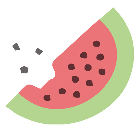 A clipart of watermelon slice with black seeds from which a bite has been taken vector color drawing or illustration Illustration
