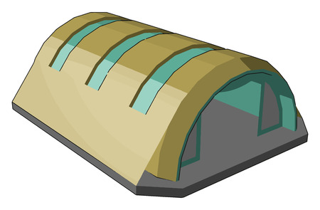 Hangar is a closed building structure to hold aircraft or spacecraft Hangars are built of Metal Wood and concrete vector color drawing or illustration Illusztráció