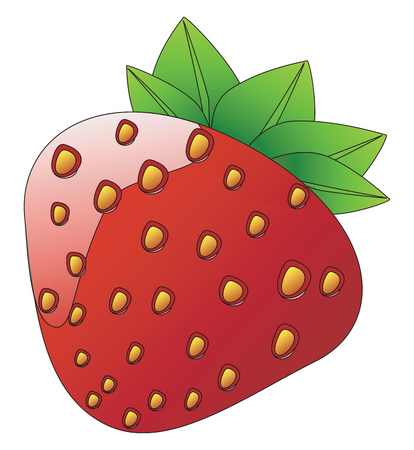 A glossy fresh sweet red berry known as strawberry vector color drawing or illustration  Иллюстрация