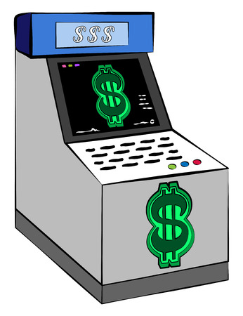 A cash or reward disbursing machine with dollar signs generally placed in arcades vector color drawing or illustration