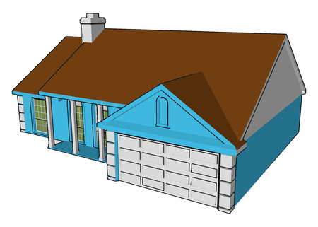 A decision to build or buy a house is very important It is one of the life goals of the most people It is third important need of man after food and clothing vector color drawing or illustration