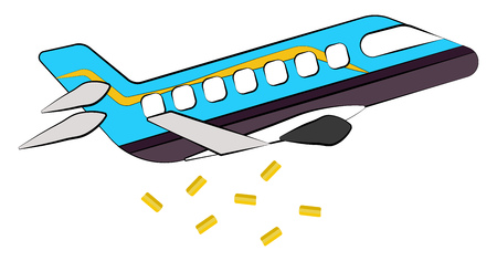 A blue jet plane is dropping parcels of golden color from the sky vector color drawing or illustration Stock Illustratie