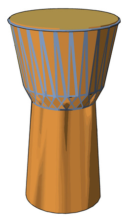 The djembe has a body or shell carved of hardwood and a drumhead made of untreated rawhide most commonly made from goatskin a versatile drum vector color drawing or illustration