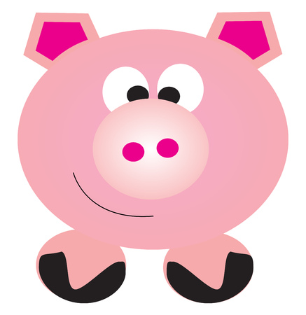 Pink piggy in the shape of coin storage known as piggybank generally used by kids to save money vector color drawing or illustration