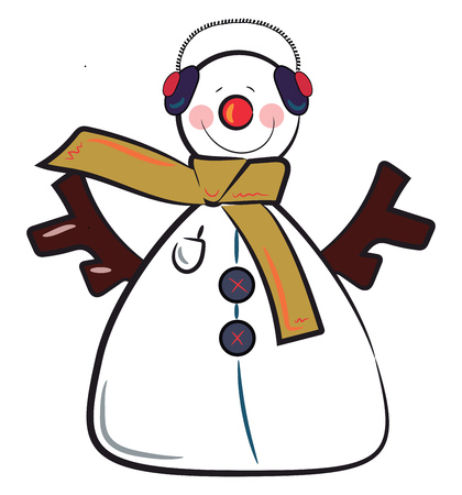 A cute snowman with headgear and wooden arms vector color drawing or illustration