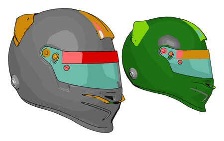 Helmet reduces the risk of life by covering skull area to protect human brain damage reduces fatalities from bicycle crashes vector color drawing or illustration Illusztráció