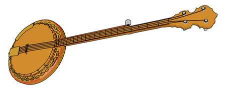 The tanpura has a hollow body it plays an important role in a concert of classical music by providing the base note and aesthetic ambience vector color drawing or illustration Foto de archivo - 123449415