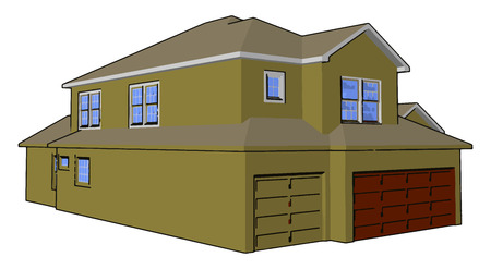Home basically have windows pillars wall column yards doors either made up of wood or metal stone iron concrete vector color drawing or illustration 일러스트