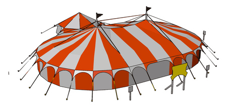 Circuses perform in a huge tent called the Big Top specially erected for them Beneath all the joy and adventure hides a world of sacrifice hard work abuse vector color drawing or illustration
