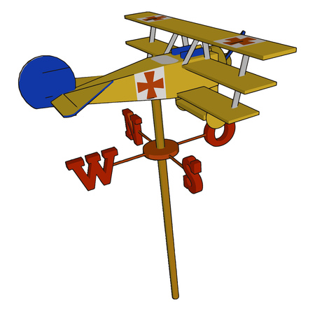 A toy triplane or aircraft on wind vane which floats according to the air direction looks very attractive and creative vector color drawing or illustration