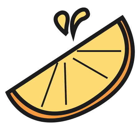 A piece of ready to serve juicy orange or lemon fruit vector color drawing or illustration