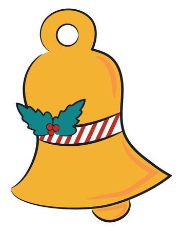 Une cloche dorée avec une couronne de Noël représentant la saison des festivités dessin ou illustration en couleur vectorielle