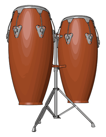 Conga drum shells are made of wood or fiberglass Rims lugs nuts and bolts etc are made up of metal and heads are made from rawhide skin or synthetic materials vector color drawing or illustration