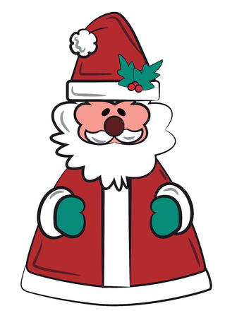 Fully covered Santa figurine with green gloves & wreath on the cap vector color drawing or illustration Ilustração