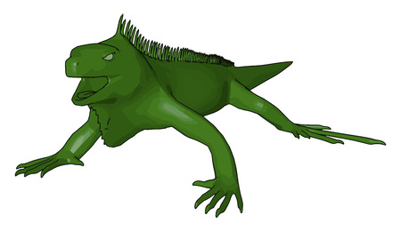 A Reptile predator green in color looks very scary It has four legs scaly skin but absence of hairs on body and can climb on walls trees easily vector color drawing or illustration