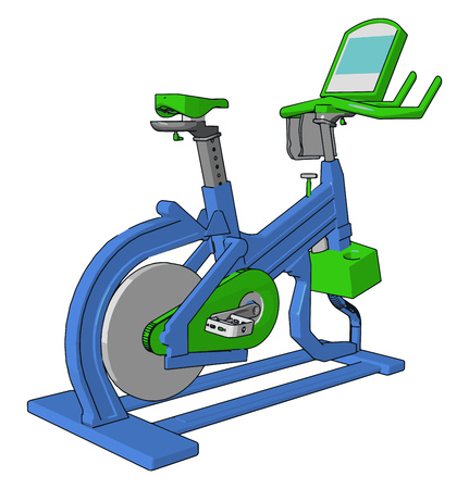 A gym cycle provides healthy lifestyle by daily workout cardio exercise It burns fat and extra calories of body to keep people fit vector color drawing or illustration