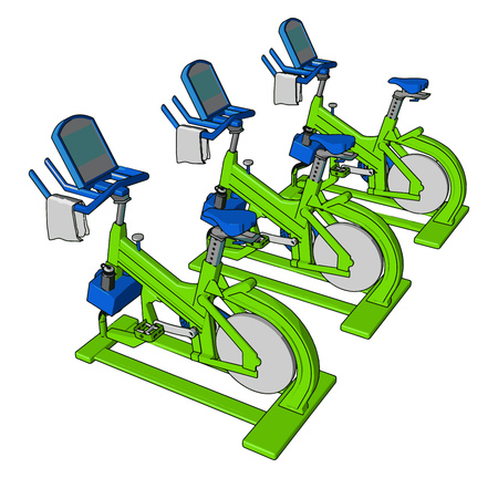 Three stationary bicycle kept in health club in parallel row to train people daily indoor work out exercise and cycling for both man and woman vector color drawing or illustration