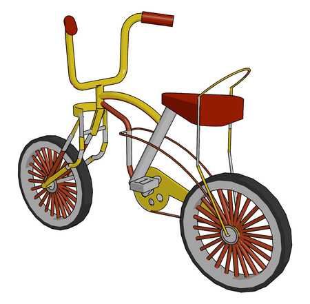 A red color child bike with a lower seat specially designed for kids ride a very comfortable vehicle not having carrier on the back side vector color drawing or illustration