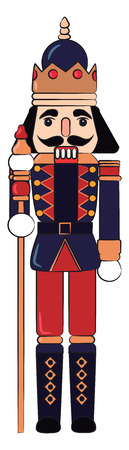 wooden toy soldier is guarding with a long stick vector color drawing or illustration
